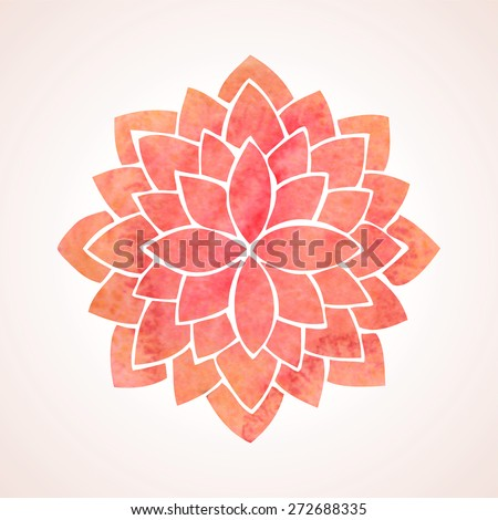 Watercolor red lotus flower. Mandala. Oriental indian, chinese style. Circled element for design. Flower pattern isolated on white background. Logo template. Vector illustration - stock vector