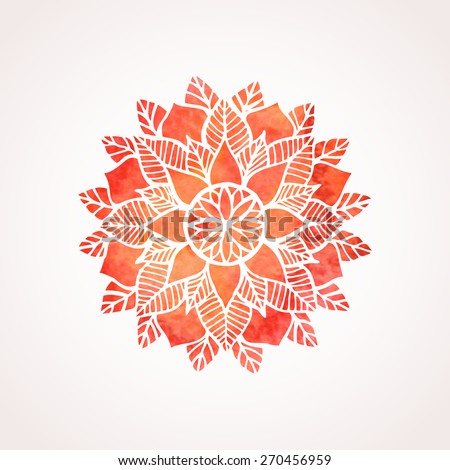 Watercolor red mandala. Geometric circled element for design. Lace watercolor flower pattern isolated on white background. Logo template. Vector illustration in oriental indian style - stock vector