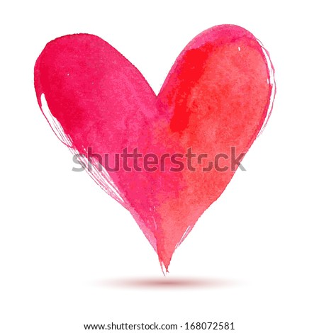 Watercolor red painted heart, vector element for your design - stock vector