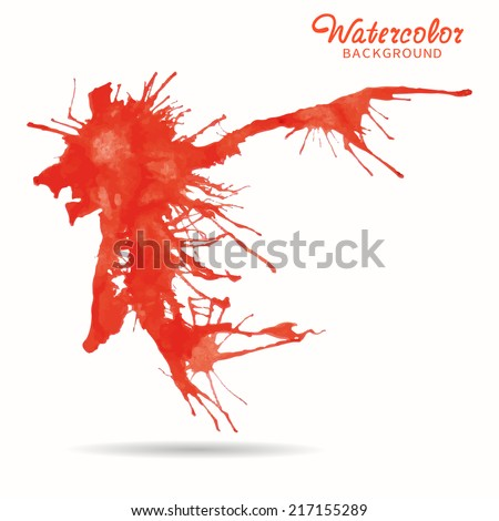 Watercolor red painted splash, abstract vector background and element for your design - stock vector