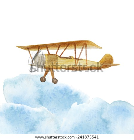 Watercolor retro airplane in clouds. Vintage hand drawn illustration in vector - stock vector