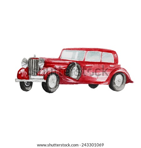 Watercolor retro car. Hand drawn classic automobile. Hand drawn vector illustration - stock vector