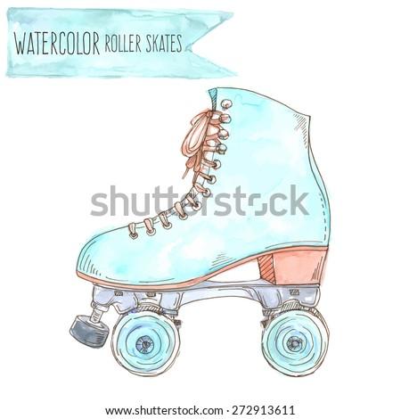 Watercolor retro roller skate. Vector Illustration. - stock vector
