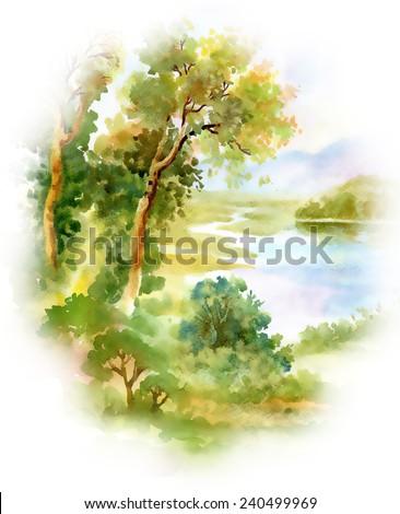 Watercolor river nature landscape on white background vector illustration - stock vector