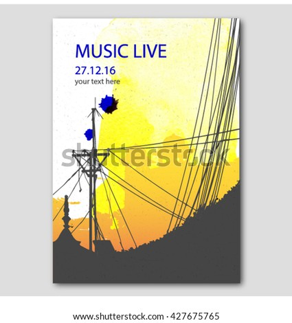 Watercolor rock festival poster. Poster background template. Vector graphic design for banner, card, poster, poster - stock vector