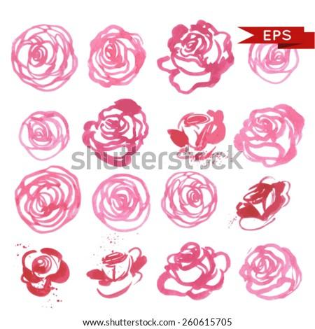 Watercolor rose set. Vector image. - stock vector