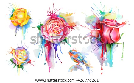 Watercolor roses, set of vector icons - stock vector