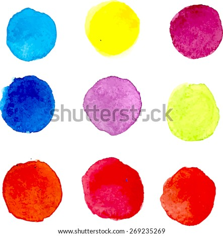 watercolor round colored spots