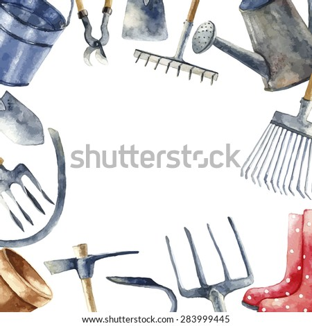 Watercolor round frame with hand painted garden tools objects. Sickle, bucket, cutting pliers, flower pot, rakes, hammer, trowel, watering, rubber boots. Vector background.  - stock vector