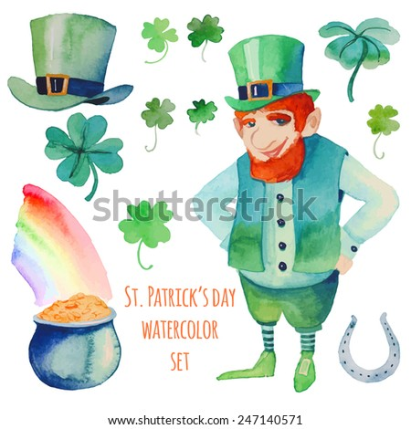 Watercolor Saint Patrick's Day set. Hand drawn artistic objects: leprechaun, clover shamrock, hat, pot of gold, rainbow, horseshoe. Cartoon holiday elements in vector - stock vector