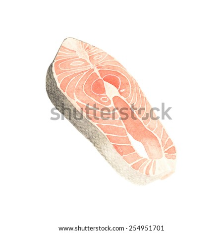 Watercolor salmon slice on the white background, aquarelle. Vector illustration. Hand-drawn decorative element. Seafood and marine cuisine - stock vector