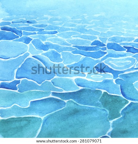 Watercolor sea background made in vector. Calm water. - stock vector