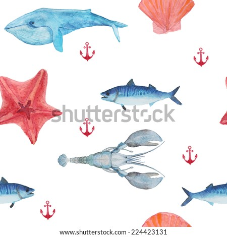Watercolor sea seamless pattern. Hand painted sea life texture with starfish, whale, anchor, lobster and fish. - stock vector