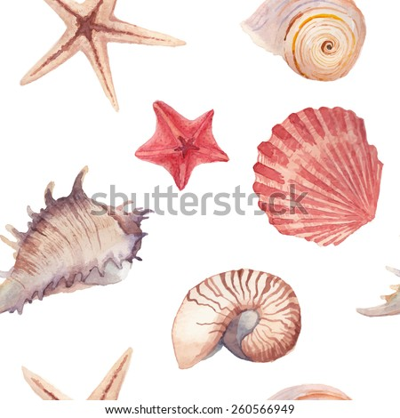 Watercolor sea shells and stars pattern. Seamless texture with hand painted oceanic life objects. Vector summer background - stock vector