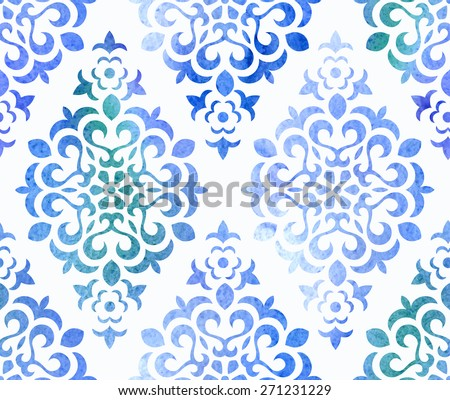 Watercolor seamless floral ornament. Vector EPS 10 background. - stock vector