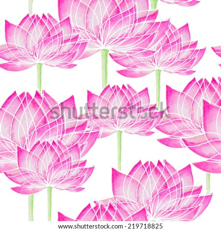 Watercolor Seamless floral pattern with lotus
