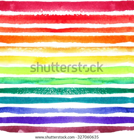 Watercolor seamless pattern,background.Rainbow color strips,Texture line border.Hand drawing artistic paint art. Bright design template.Vector summer decor elements.For fabric,wrap ornament - stock vector