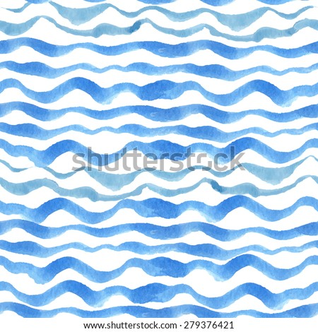 Watercolor seamless pattern border. Blue cyan horizontal strips.Water, sea ,ocean wave  Hand drawing painting background . Backdrop,background,fabric,Wallpaper.Vector.Summer,travel, vacation design.  - stock vector