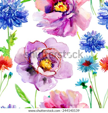 Watercolor seamless pattern of exotic flowers.Bright colors watercolor botanical elements - stock vector