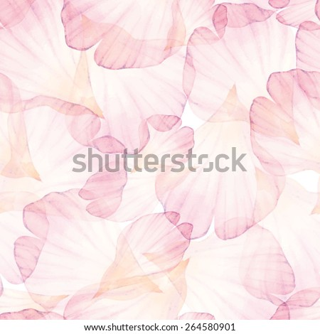 Watercolor Seamless pattern. Pink flower petal. Vectorized watercolor drawing.   - stock vector