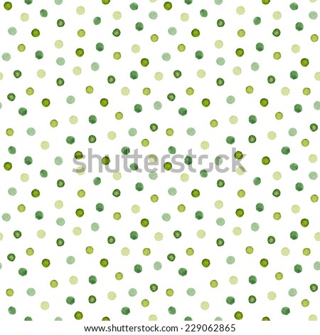 Watercolor seamless pattern.  Polka dots hand drawn. Abstract background with circles. Vector illustration. - stock vector