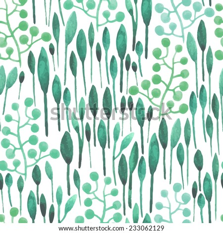 watercolor seamless pattern with abstract leafs