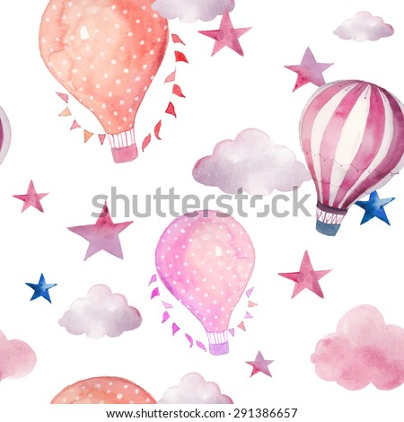 Watercolor Seamless Pattern With Air Balloon And Clouds Hand Drawn Vintage Collage Illustration Hot
