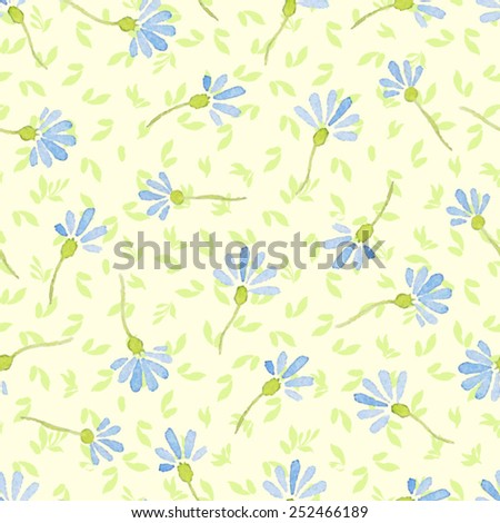 Watercolor seamless pattern with cornflowers - stock vector