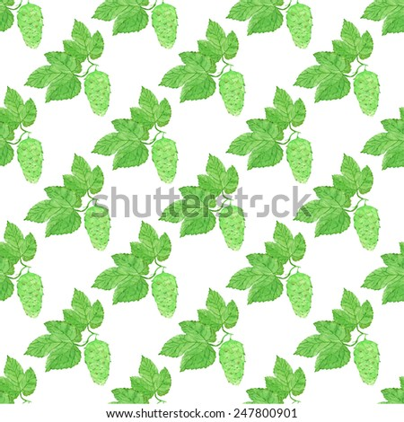 Watercolor seamless pattern with hops on the white background, aquarelle. Vector illustration. Hand-drawn decorative element useful for invitations, scrapbooking, design. Beer brewing. - stock vector