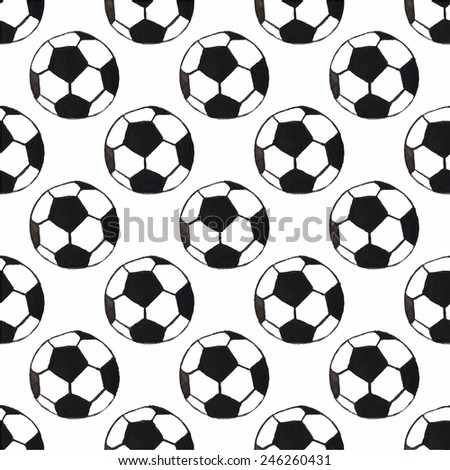 Watercolor seamless pattern with oldfashioned football ball on the white background, aquarelle. Vector illustration. Hand-drawn decorative element useful for invitations, scrapbooking, design.  - stock vector