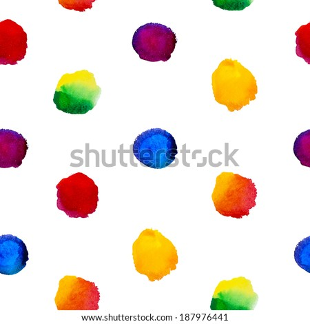 Watercolor seamless pattern with rainbow colorful dots. Vector illustration. - stock vector