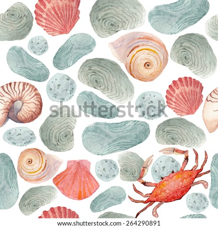 Watercolor seamless pattern with stones beach, sea shells and small crab. Hand drawn vector texture on white background - stock vector
