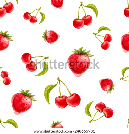 Watercolor seamless pattern with strawberries and cherries. Hand drawn design. Vector summer fruit illustration. - stock vector