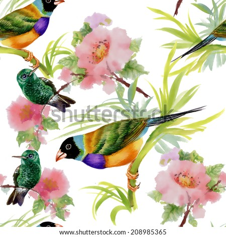 Watercolor seamless pattern with tropical birds and flowers on white background vector illustration - stock vector