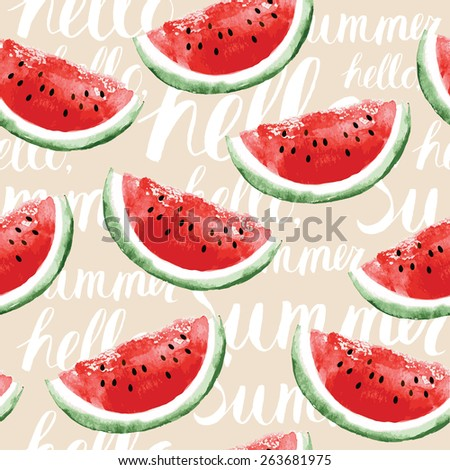Watercolor seamless pattern with watermelons - stock vector