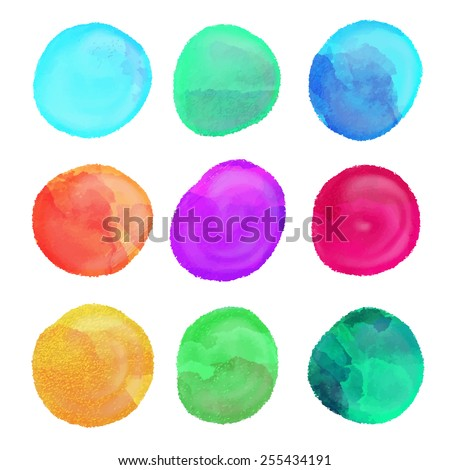 Watercolor set colorful rainbow paint stains, circles isolated on a white background. Art abstract. Frames  - stock vector