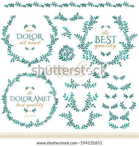 Watercolor set of badges, floral elements, wreaths and laurels - stock vector