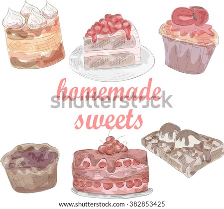 watercolor set of delicious cakes. EPS10 - stock vector