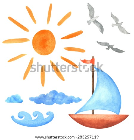Watercolor set sun, clouds, waves, yacht, bird seagull  isolated on white background. Hand painting on paper - stock vector
