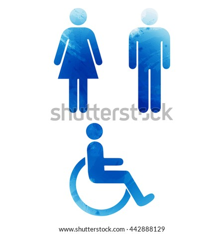 Watercolor signs. Toilet, changing room, male, female, wc. EPS 10 - stock vector
