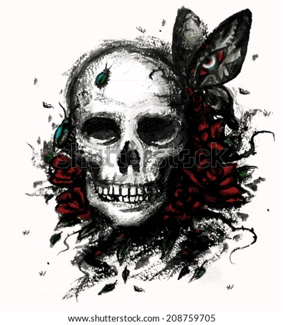 Watercolor skull with flowers - vector illustration.