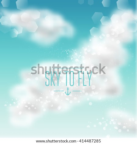 Watercolor sky background with shining sparks and bokeh. Vector Illustration, Graphic Design Editable For Your Design.