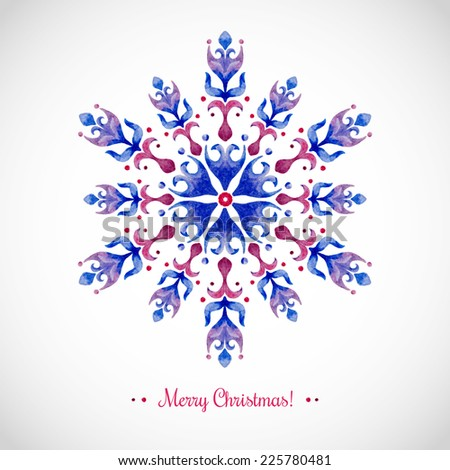 Watercolor snowflake. Vector Illustration. Abstraction. Can be used as a Christmas card or background.  - stock vector