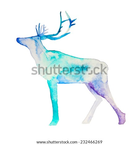 Watercolor splashes north deer. Hand drawn winter illustration in vector. - stock vector