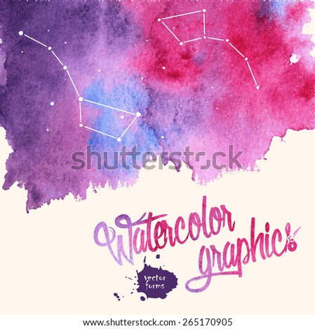 Watercolor splatter background with stars and constellation - stock vector