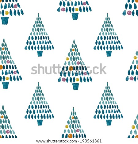 watercolor, spruce, pattern - stock vector