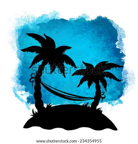 Watercolor square paint stain and coconut palm trees, hammock closeup black silhouettes. Nature icon isolated on white background. Abstract art. Logo design  - stock vector