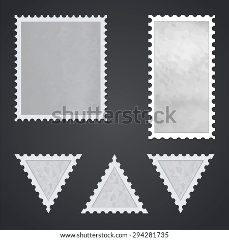Watercolor square, rectangular and triangular stamps - stock vector
