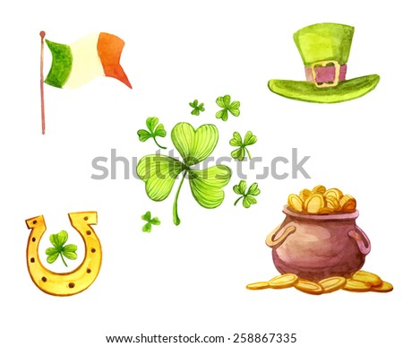 watercolor st Patrick's day icons set  - stock vector