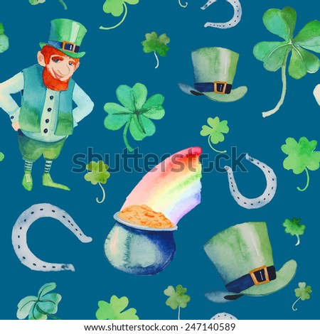 Watercolor St. Patrick's Day pattern. Hand drawn seamless texture with objects: leprechaun, clover shamrock, hat, pot of gold, rainbow, horseshoe. Cartoon holiday background on blue - stock vector